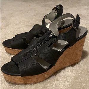 Heels: Black with cork wedge